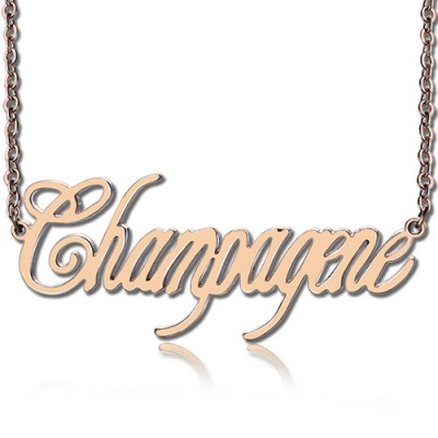 Solid Rose Gold Personalised Champagne Font Name Necklace - By The Name Necklace;