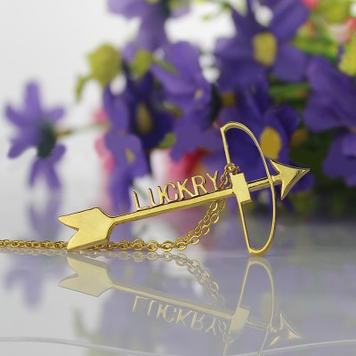 18ct Gold Plated 925 Silver Arrow Cross Name Necklaces Pendant Necklace - By The Name Necklace;
