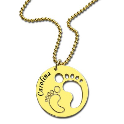 Cut Out Baby Footprint Pendant 18ct Gold Plated - By The Name Necklace;