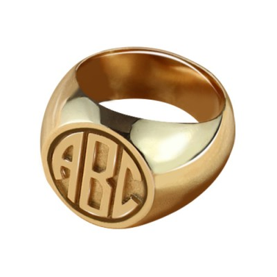 Circle Signet Ring with Block Monogram Rose Gold - By The Name Necklace;