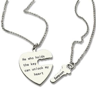 Key and Heart Necklaces Set For Couple - By The Name Necklace;