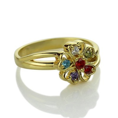 Birthstone Flower Promise Ring with Name 18ct Gold Plated  - By The Name Necklace;