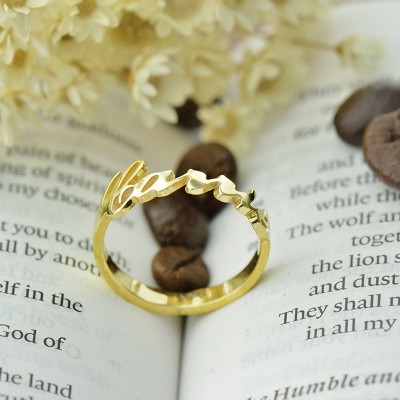 Custom Carrie Name Rings 18ct Gold Plated - By The Name Necklace;