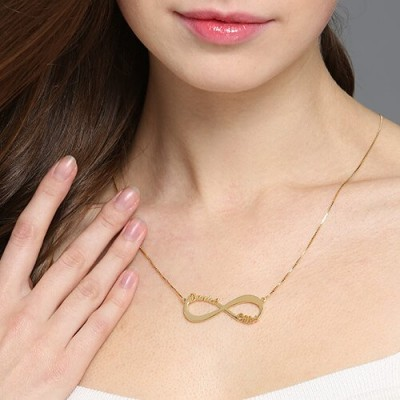 18ct Gold Plated Infinity Necklace Double Name - By The Name Necklace;