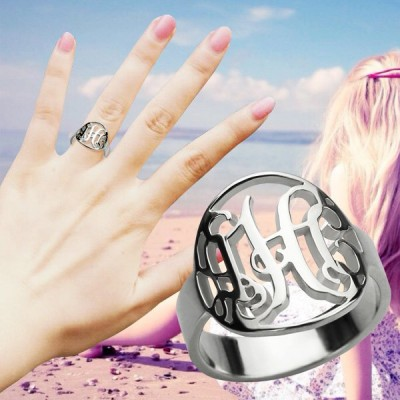 Cut Out Monogram Initial Ring Sterling Silver - By The Name Necklace;