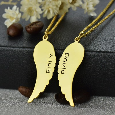 Matching Angel Wings Necklaces Set for Couple 18ct Gold plated - By The Name Necklace;