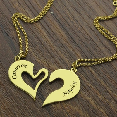 Double Name Heart Friend Necklace Couple Necklace Set 18ct Gold Plated - By The Name Necklace;