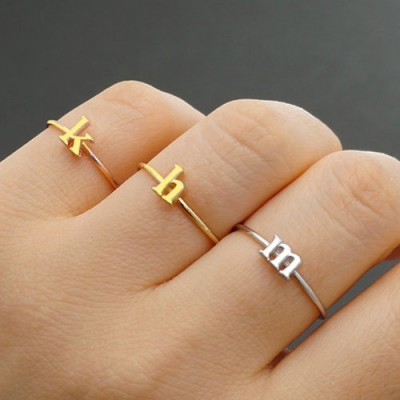 Custom Midi Initial Letter Ring 18ct Gold Plated - By The Name Necklace;