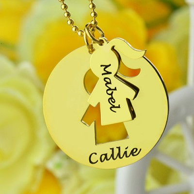 Mother and Child Necklace Set with Name 18ct Gold Plated - By The Name Necklace;