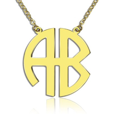 Two Initial Block Monogram Pendant 18ct Gold Plated - By The Name Necklace;