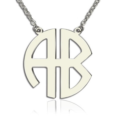 Two Initial Block Monogram Pendant Necklace Solid White Gold - By The Name Necklace;