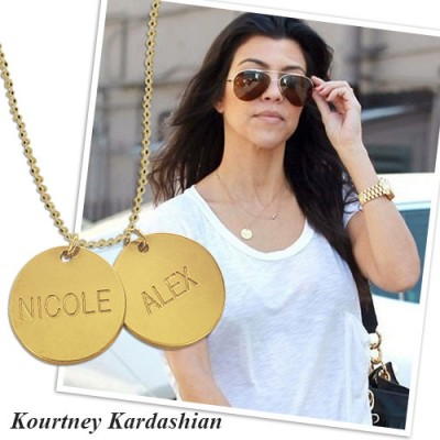 18ct Gold Plated Silver Disc Pendant Necklace - By The Name Necklace;