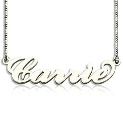 Personalised Carrie Name Necklace Silver - Box Chain - By The Name Necklace;