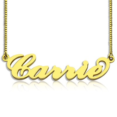 Gold Plated Sex and The City Carrie Name Necklace Box Chain - By The Name Necklace;