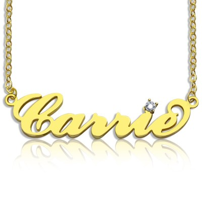 Carrie Nameplate Necklace with Birthstone 18ct Gold Plated  - By The Name Necklace;