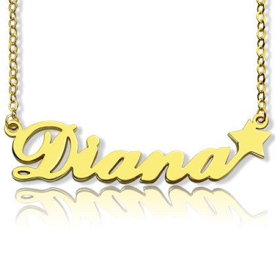 18ct Gold Plated Carrie Style Name Necklace With Star - By The Name Necklace;