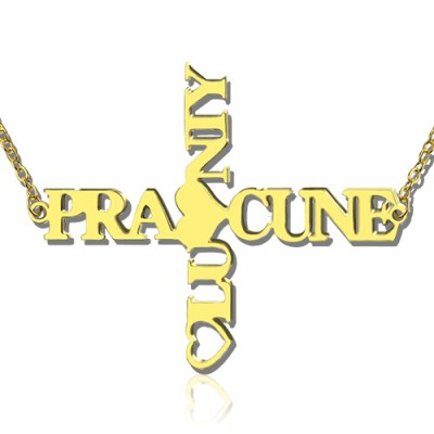 Personalised Two Name Cross Necklace Gold Plated 925 Silver - By The Name Necklace;