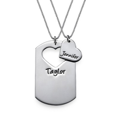 Couples Dog Tag Necklace With Cut Out Heart - By The Name Necklace;