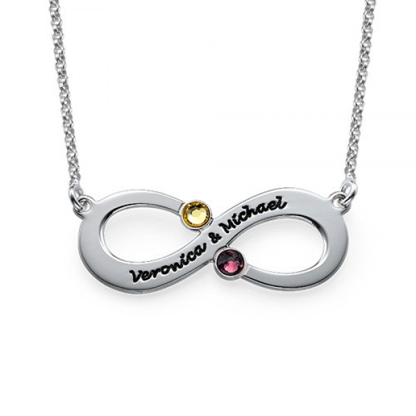 Couple's Infinity Necklace with Birthstones  - By The Name Necklace;