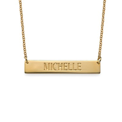 Engraved Bar Necklace in Gold Plating With My Engraved