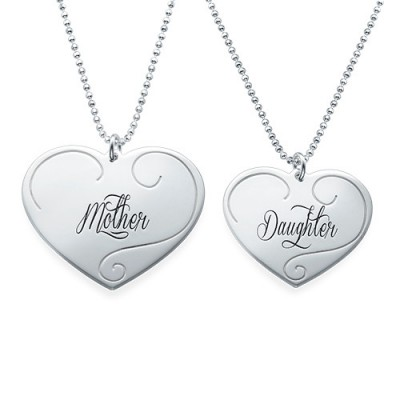 Engraved Heart Pendants - Mother Daughter Jewellery With My Engraved