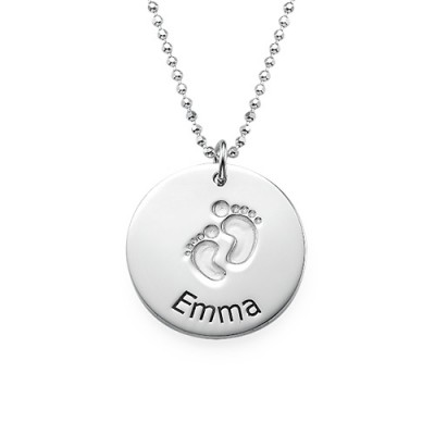 Engraved Silver Baby Steps Necklace With My Engraved
