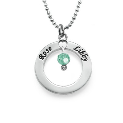 Engraved Classic Circle Necklace with Birthstones  With My Engraved