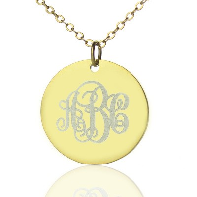 Disc Script Monogram Necklace 18ct Gold Plated - By The Name Necklace;