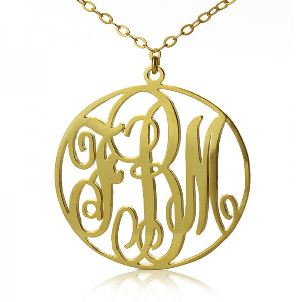 18ct Gold Plated Circle Initial Monogram Necklace - By The Name Necklace;