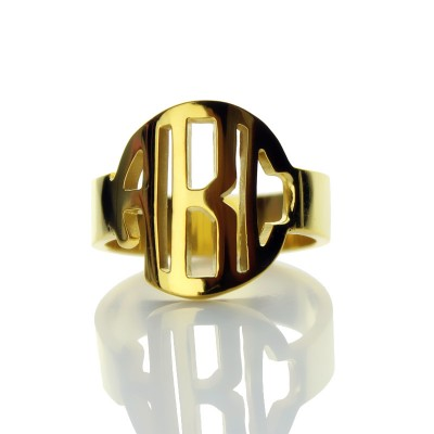 18ct Gold Plated Block Monogram Ring - By The Name Necklace;