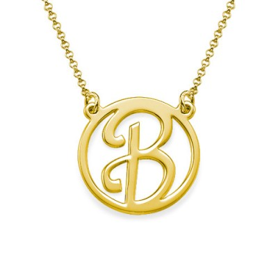 18k Gold Plated Cut Out Initial Necklace - By The Name Necklace;