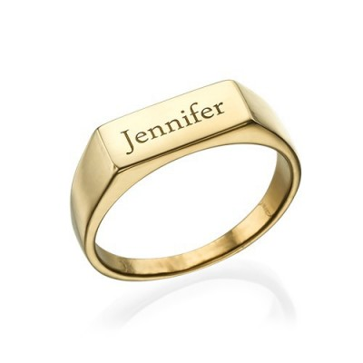 Gold Plated Engraved Signet Ring With My Engraved