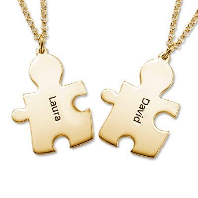 18CT Gold Plated Personalised Couple's Puzzle Necklace - By The Name Necklace;
