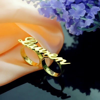 Custom Allegro Two Finger Nameplated Ring 18ct Gold Plated - By The Name Necklace;