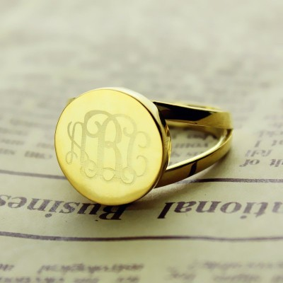 18ct Gold Plated Circle Monogram Signet Ring - By The Name Necklace;