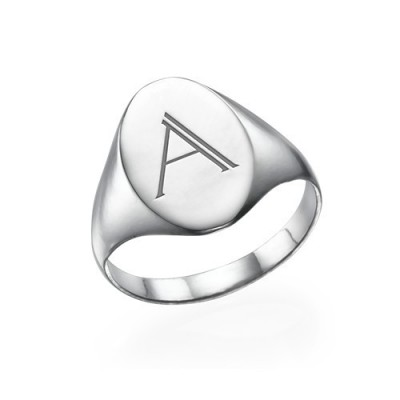 Initial Signet Ring in Sterling Silver - By The Name Necklace;