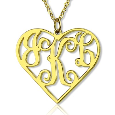 18ct Gold Plated Silver 925 Initial Monogram Personalised Heart Necklace-Single Hook - By The Name Necklace;