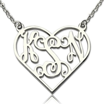 Heart Monogram Necklace Sterling Silver - By The Name Necklace;