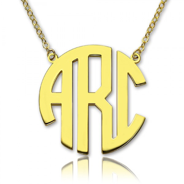 18ct Gold Plated Block Monogram Pendant Necklace - By The Name Necklace;