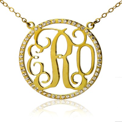 18ct Gold Plated Circle Birthstone Monogram Necklace  - By The Name Necklace;