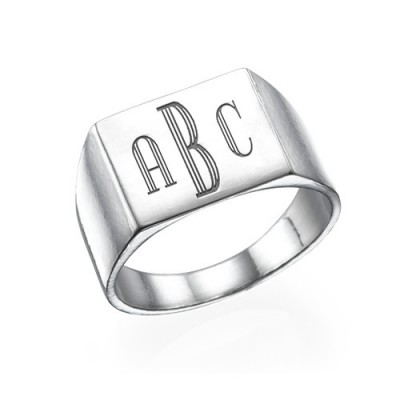 Monogrammed Signet Ring in Silver - By The Name Necklace;