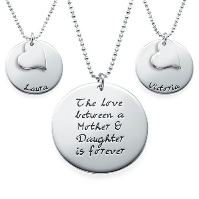 Mother Daughter Gift - Set of Three Engraved Necklaces With My Engraved