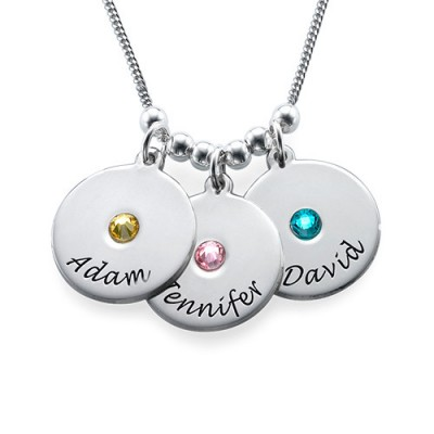 Mother's Disc and Birthstone Necklace  - By The Name Necklace;