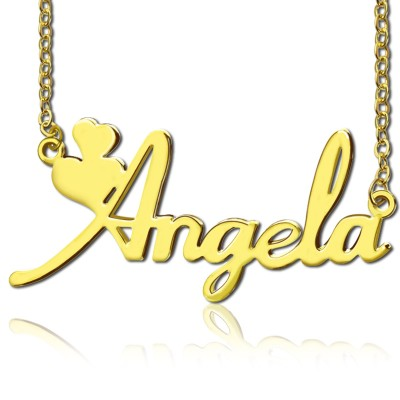 Personalised Solid Gold Fiolex Girls Fonts Heart Name Necklace - By The Name Necklace;