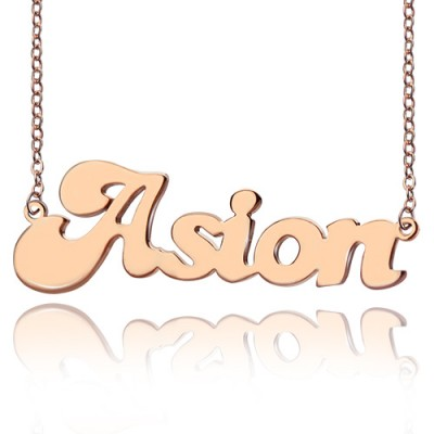 Personalised 18ct Rose Gold Plated BANANA Font Style Name Necklace - By The Name Necklace;