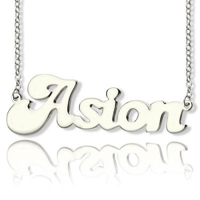 Personalised 18ct Solid White Gold BANANA Font Style Name Necklace - By The Name Necklace;