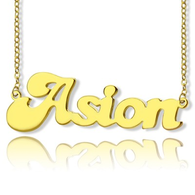 Personalised 18ct Gold Plated BANANA Font Style Name Necklace - By The Name Necklace;