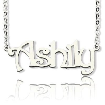 Sterling Silver Harrington Font Name Necklace - By The Name Necklace;