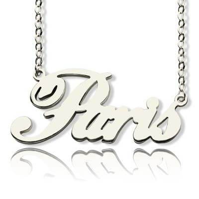 Paris Hilton Style Name Necklace 18ct Solid White Gold Plated - By The Name Necklace;
