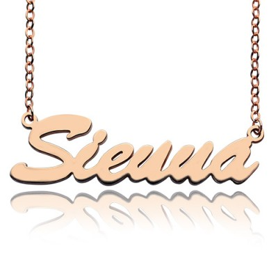 18ct Rose Gold Plated Sienna Style Name Necklace - By The Name Necklace;